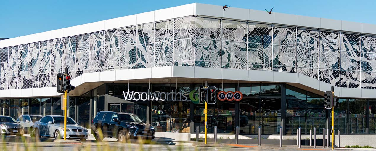 'Jacaranda' by Paula Hart. Commissioned by Woolworths. Budget: $230,000.
